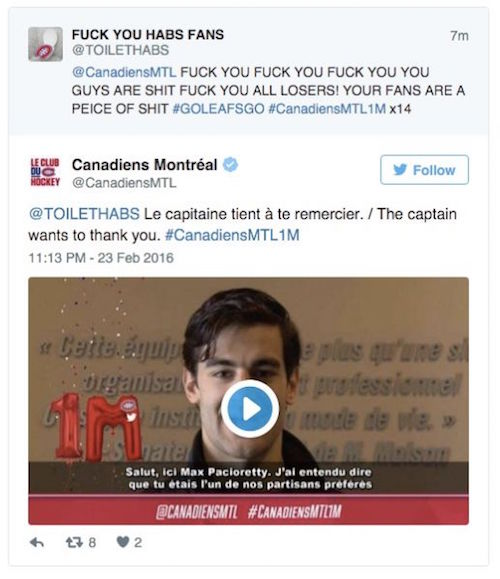 montreal canadiens twitter promotion fail toilet habs