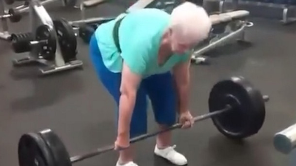 78-year-old woman deadlifting 225 pounds