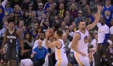 Andrew Bogut Celebrated Steph Curry's 3-Pointer Before It Left His Hands (Video)