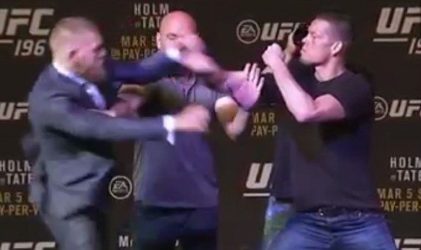 Conor McGregor Swing at Nate Diaz