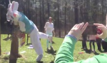 Penn State Coach in Easter Bunny Costume Tackling a Piñata is What Easter's All About (Video)