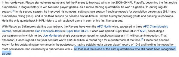 Joe Flacco Wikipedia Edit