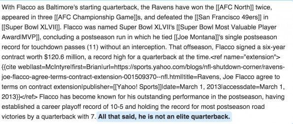 Joe Flacco Wikipedia Elite