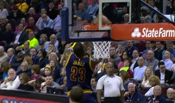 LeBron James reverse dunk