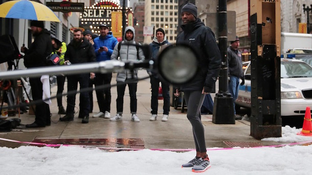 adidas photo shoot running shoes downtown chicago