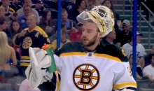 Bruins Goalie Jonas Gustavsson Has a Hell of a Time Getting a Drink of Water (Video)