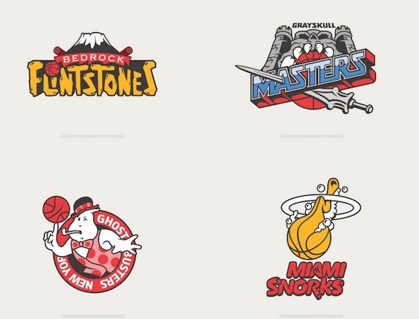 nba logos as 80s cartoons