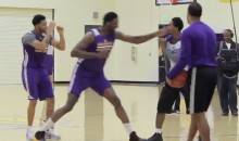 Lakers' Roy Hibbert Accidentally B*tch Slaps Lou Williams In Practice (Video)