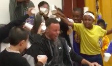 Elementary School Kids Dump Water on Steph Curry, Draymond Green-Style (Video)