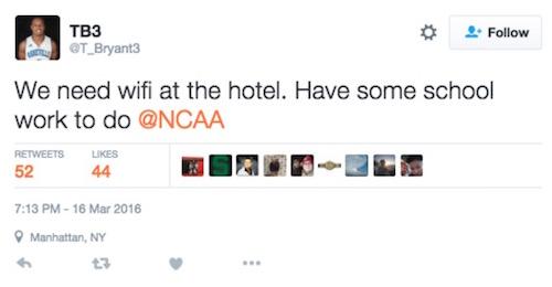 unc-asheville player trae bryant wifi tweet
