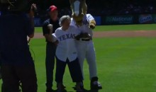 105-Year-Old Rangers Fan Throws Out First Pitch (Video)