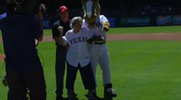 105-year-old rangers fan first pitch