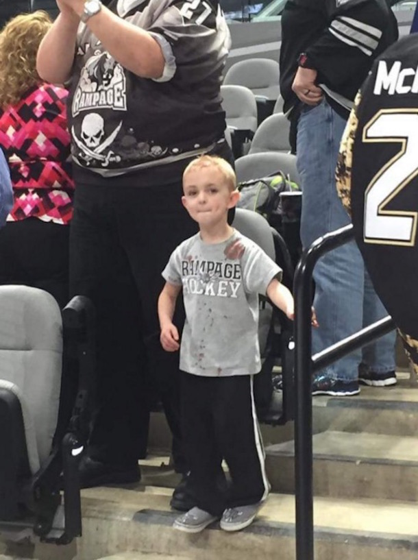5-year-old hockey fan james evans puck to head er staples