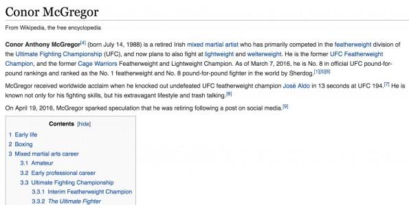 Conor McGregor Retire Wikipedia Update