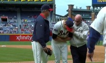 Braves Pitcher Daniel Winkler Fractures His Elbow During a Pitch (Video)