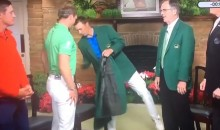 Jordan Spieth Nearly Falls While Giving Danny Willett His Green Jacket (Video)