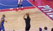 Courtside Pistons Fan Grabs Loose Ball, Attempts 3-Pointer, Airs It Out (Video)