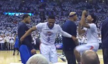 Russell Westbrook Gets Physical When Mavs Players Try to Disrupt His Pregame Dance (Video)