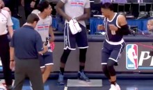 Russell Westbrook Pre-Game Dance Goes Down Without a Hitch Thanks to Added Security from Mitch McGary (Video)