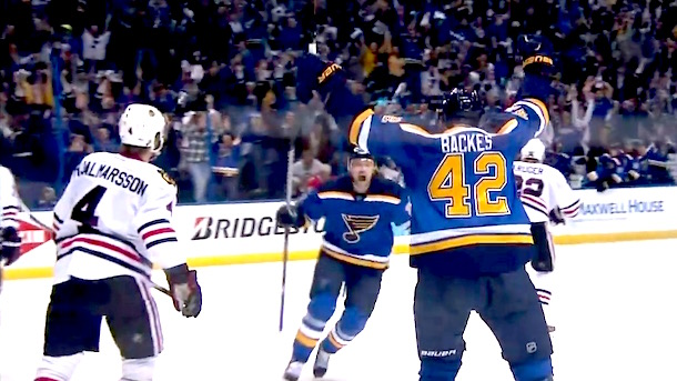 david backes luckey bounce blues blackhaws overtime