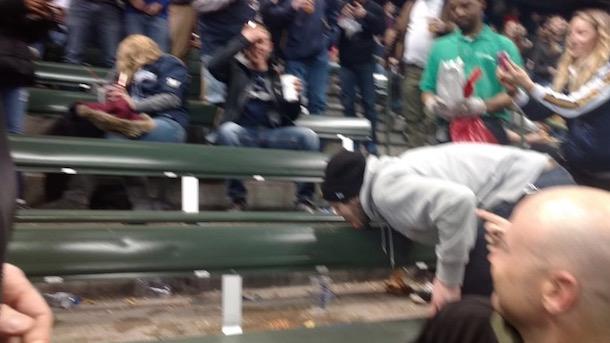 disgusting baseball fans lick puke butt-hats