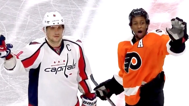 flyers fans throw ed snider tribute bracelets onto ice ovechkin simmonds try to calm down