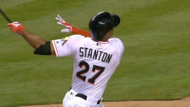 giancarlo stanton picks up right where he left off giancarlo stanton launches bomb justin verlander