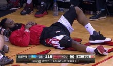 Social Media Reacts To James Harden Taking A Nap On The Sidelines