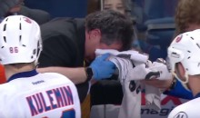 Islanders Coach Takes Puck to the Face During Game 1 Against Lightning (Video)