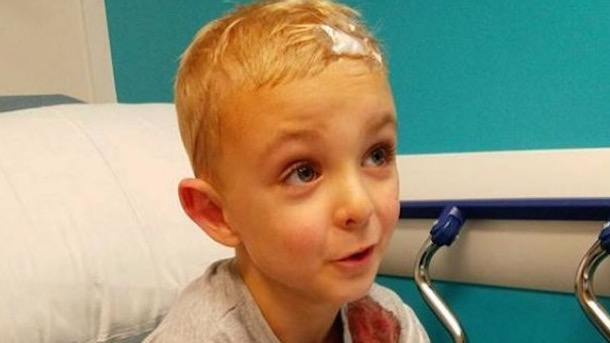 james evans 5-year-old hockey fan takes puck to the head