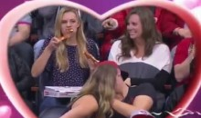 This Girl Savagely Attacks Two Slices Of Pizza While On The Kiss-Cam (Video)