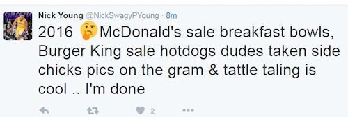 nick young tweet mcdonalds 2016