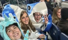 John Oliver's Guests at Wednesday's Yankees Game Wore Shark and Unicorn Costumes (Pics)