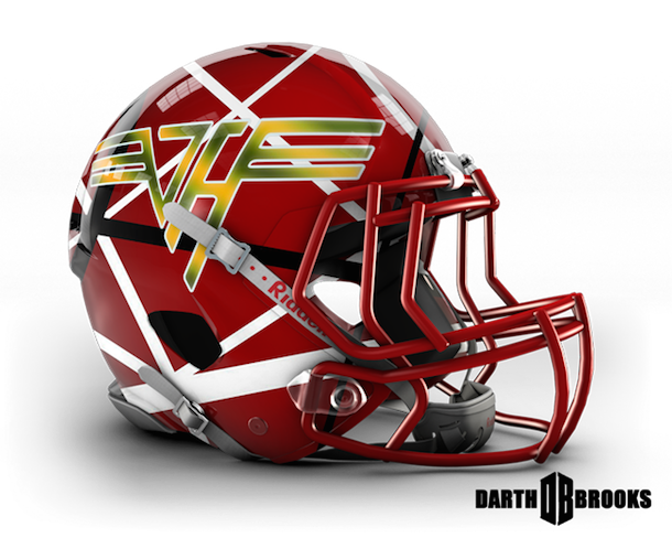 rock and roll football helmets van halen