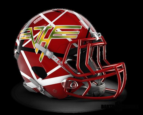 rock and roll football helmets van halen