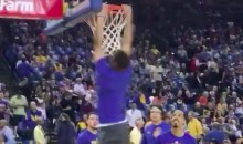 Steph Curry Does the Most Adorable Little 360 Dunk During Warmups (Video)