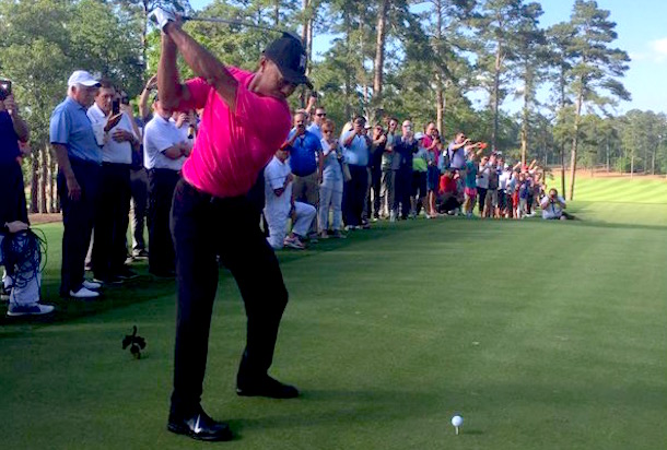 tiger woods plays first holes since august opens new course