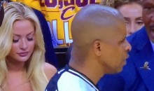 Check Out the Hot Blonde Cavs Fan Sitting Behind the Raptors Bench Last Night (Pics)