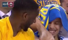 Steph Curry Dives Into Stands, Comes Away With Nasty Elbow Knot (Videos)