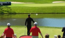 Tiger Woods Hits Three Straight Shots Into the Water During Media Event (Video)