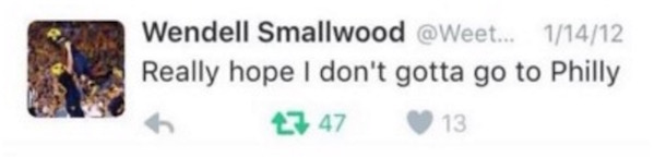 Wendell Smallwood Tweet 2012