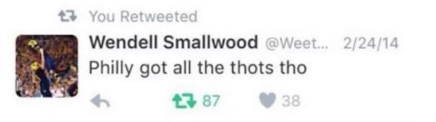 Wendell Smallwood Tweet 2014