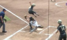 Army Softball Player Hurdles Catcher For Amazing Play at the Plate (Video)