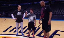 Watch Charles Barkley Lose to Ernie Johnson in a NBA on TNT Three-Point Contest (Video)