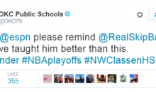 Oklahoma Public Schools Twitter Acct Responds To Skip Bayless Saying OKC Won't Win A Game Vs. Warriors