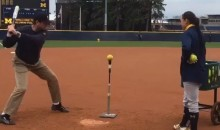 Jim Harbaugh Plays T-Ball with Michigan Softball Team, Hits Homer in Khakis (Video)
