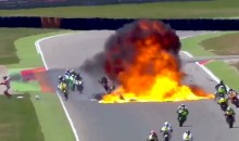 Insane Video: Motorcycle EXPLODES During Spanish Motorcycle Race, No Serious Injuries (Videos)