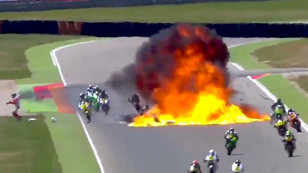 motorcycle explodes motorcycle crash motorcycle racing explosion Motorland Aragon