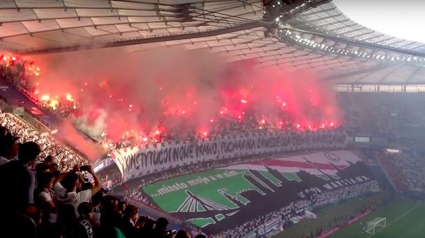 polish cup final images flares smoke war zone Legia Warsaw vs Lech Poznan