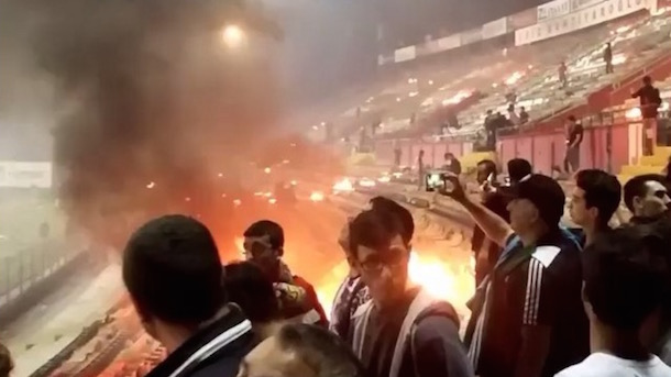 turkish soccer fans burn stadium down